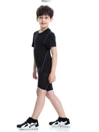 Kids Boys Sports running Yoga suit Gym workout clothes