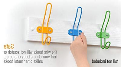 Tibres Wall Coat Hooks for Girls and Boys Clothes Backpacks -