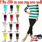 Womens capri leggings seamless skinny slim fit cropped solid