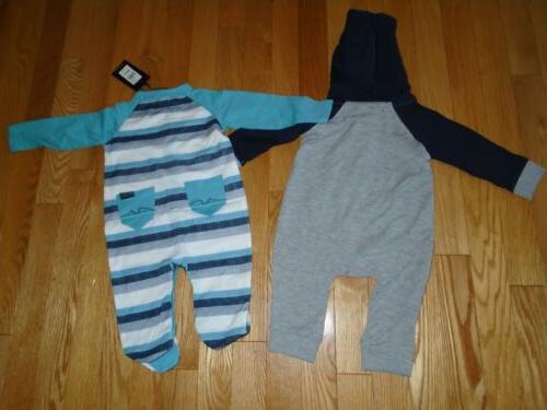 7 For All LOT 2 Baby Boys Romper Coverall 3M NWT