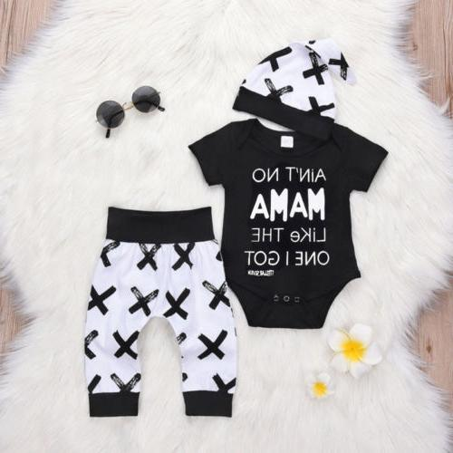 Newborn Kid Baby Boy 3pcs Clothes Jumpsuit Romper Bodysuit P