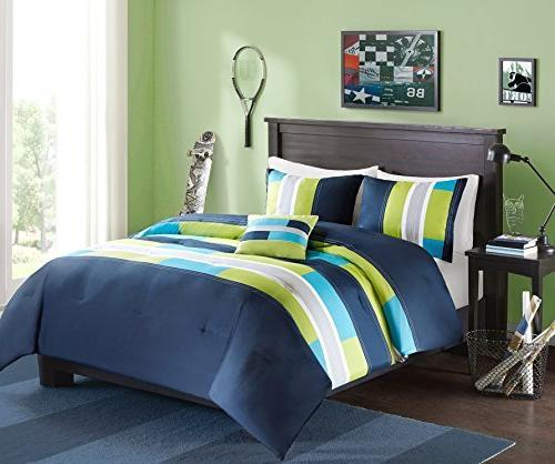 Comfort Comforter 4 Piece Dark Blue/Navy - Multi-Color Pipeline - Perfect for - Size, Includes Comforter, 2 Pillow
