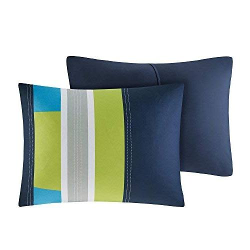 Comfort Spaces - Comforter Set Piece - Blue/Navy - Multi-Color Pipeline - Perfect for - Boys Full/Queen Size, 1 Comforter, 2 Shams, Pillow