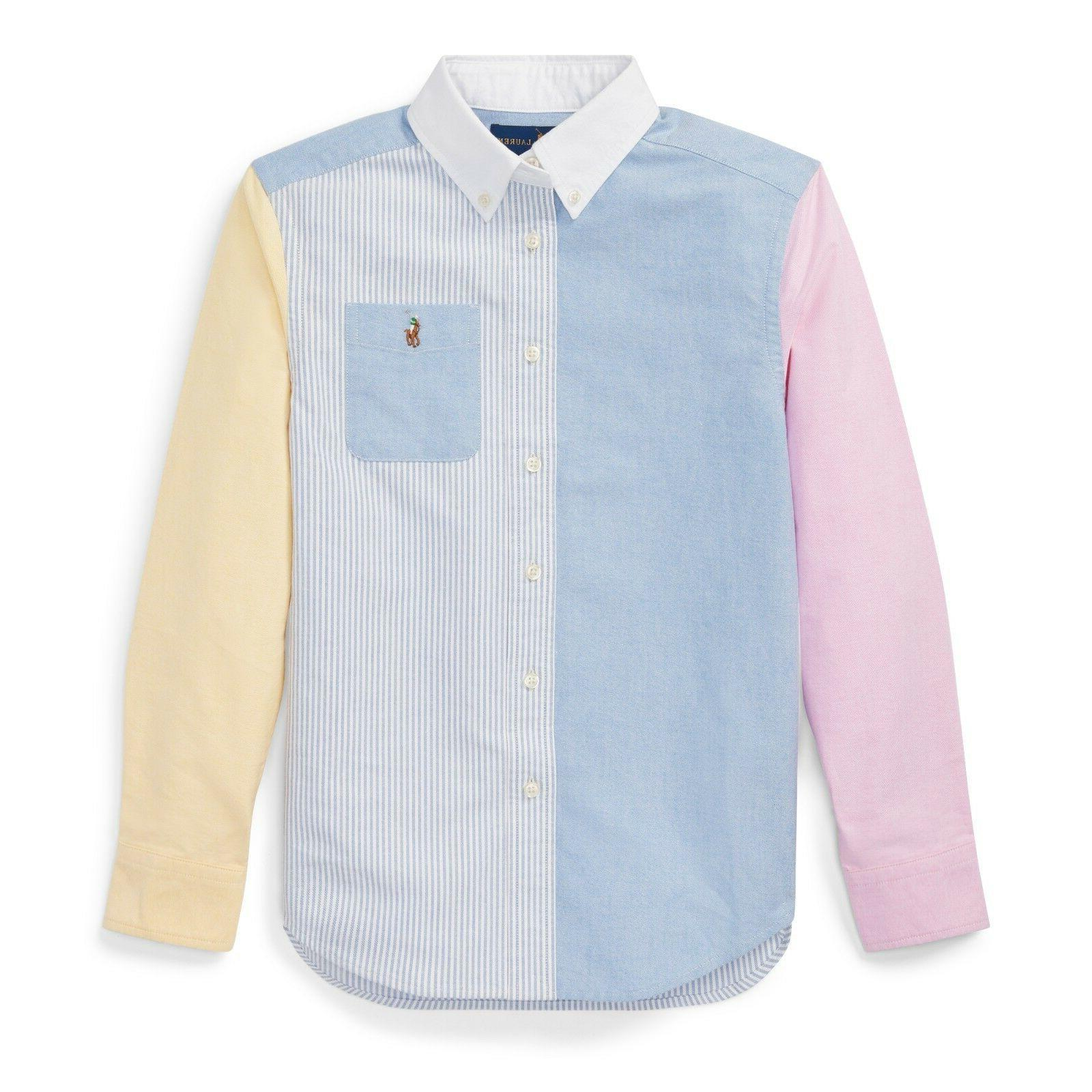 ralph lauren button down multicolored dress shirt