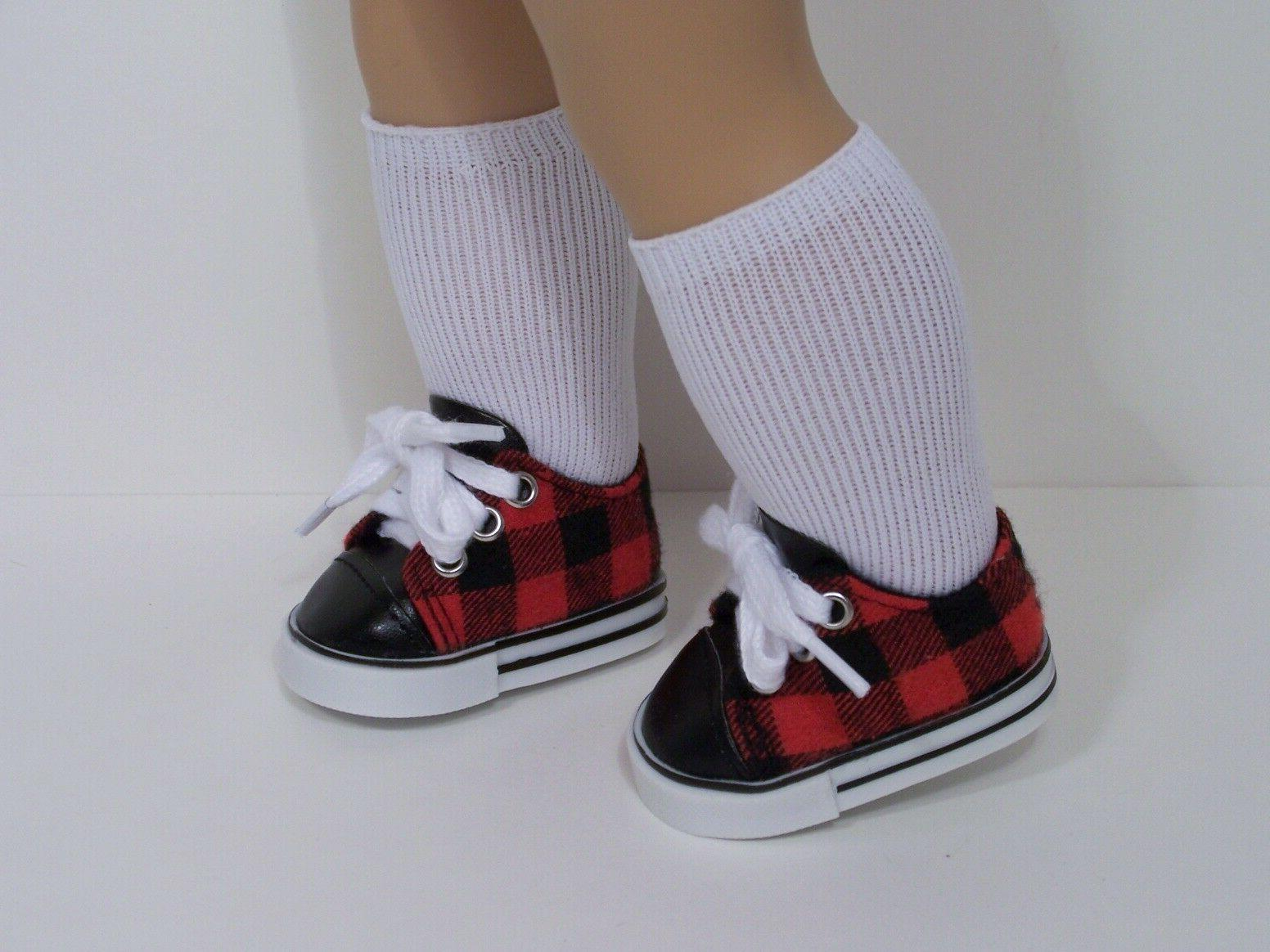 red black checker tennis doll shoes