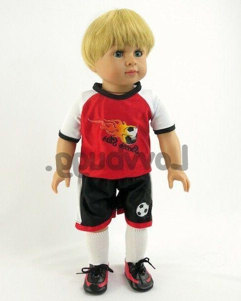 "Red Flame Soccer w Girl/Boy 18"" Clothes LOVVBUGG"