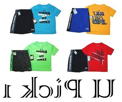 Shirt Shorts Under Armour Boys Sport Athletic Set Outfit 4 Y