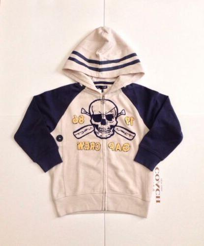skull print full zip hoodie for boys