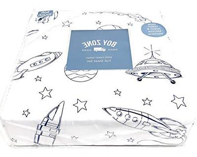 space ship rockets planets navy blue white
