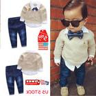 Toddler Kids Baby Boys Gentleman Clothes Set Bow Shirt+Jeans