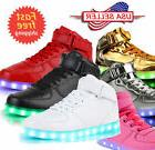 Unisex Kids High-tops LED Luminous Shoes Casual Sports Sneak