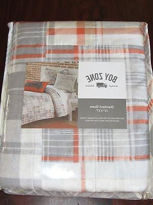 Boy Zone VINTAGE CAR PLANE TRAIN STANDARD PILLOW SHAM Grey Plaid
