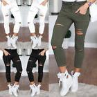 Women Skinny Ripped Holes Jeans Pants High Waist Stretch Sli
