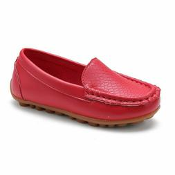 L-RUN Boys Girls Leather Loafer Shoes Durable for Preschool/