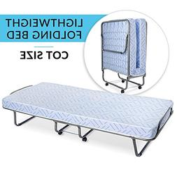 Milliard Lightweight Folding Bed with Mattress – Cot Size