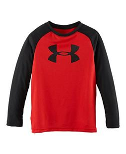 Under Armour Little Boys' Logo Long Sleeve Raglan, Red, 4T