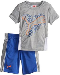 PUMA Little Boys' Prism Cat Set, Smoke Heather, 6