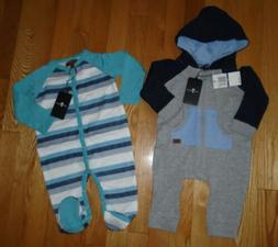 7 For All Mankind LOT 2 Baby Boys Romper Coverall Hoodie Tod