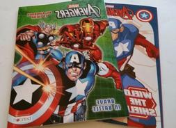 Lot of 2 AVENGERS Coloring and Activity Books for Children,