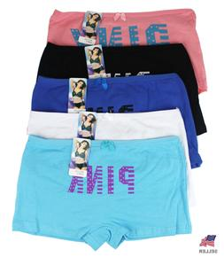 Lots 5 Womens Girls Cotton Boxer Briefs BoyShorts Seamless P