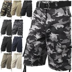 Mens Cargo Shorts with Belt 30 52 Twill Short Camo Pants Sum