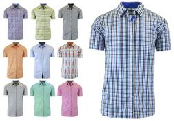 Mens Short Sleeve Dress Shirt Slim Fit Button Down Casual NW