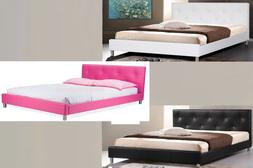 MODERN WHITE, BLACK OR PINK FAUX LEATHER DOUBLE FULL BED FRA