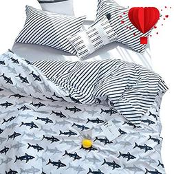 BuLuTu Navy Blue/Grey Shark Print Pattern Cotton US Queen Be