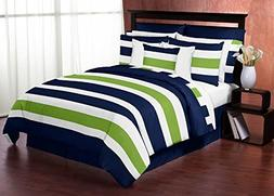 Navy Blue Lime Green White Stripes Twin Kids Teen Boy Room B