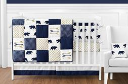 Sweet Jojo Designs 9-Piece Navy Blue, Gold, and White Patchw