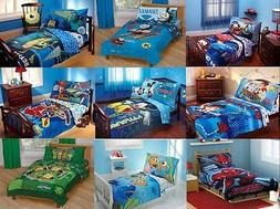 NEW - BOYS 4PC TODDLER BEDDING SET - MULTIPLE DISNEY CHARACT