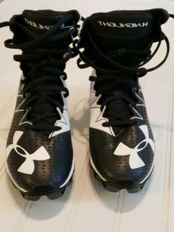 NEW Boys Under Armour Football Cleats Highlights Black White