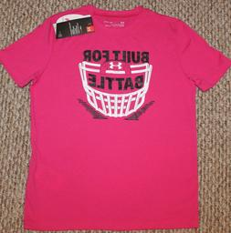 New! Boys Under Armour Power In Pink Shirt  Small 8