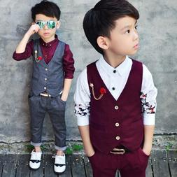 New Fashion Kids Baby Boys Gentleman Suit For Wedding Clothe