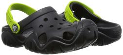NEW CROCS Kids BOYS Classic Clog Sandals Black Green Shoe To