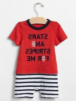 NWT Baby Gap July 4th Stars & Stripes For Me Short Romper 1P