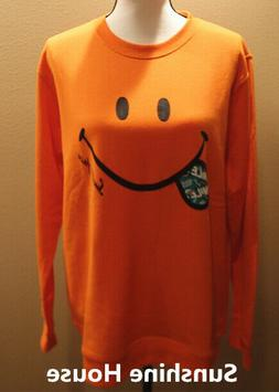 Orange Long Sleeves Sweatshirt Smiley Face Pattern For Men o