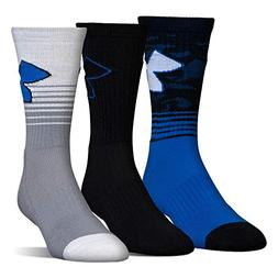 Under Armour Boys Phenom 2.0 Crew Socks , Blue Marker, Youth