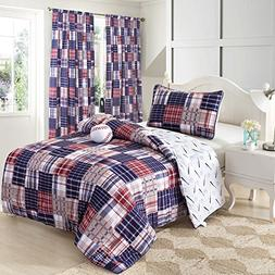 3 Piece Baseball Sports Theme Plaid Red, White and Blue Comf