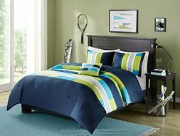 Comfort Spaces - Pierre Comforter Set - 4 Piece - Dark Blue/