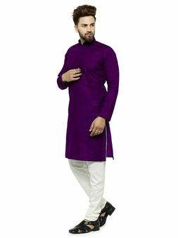 Purple Cotton Kurta Pajama For Men Yoga Indian Clothing Ethn