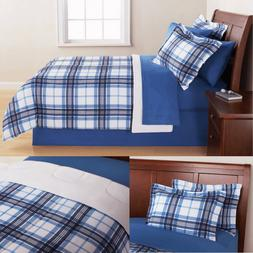 Queen Bedding Sets For Boys Men Teens Blue Plaid Reversible