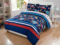 Queen Size 7pc Comforter Set for Boys Solar System Space Roc