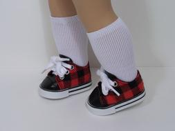 "RED BLACK Checker Tennis Doll Shoes For 18"" American Girl &"