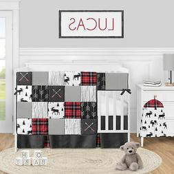 Red Black Rustic Plaid Arrow Baby Boy 5pc Nursery Crib Beddi