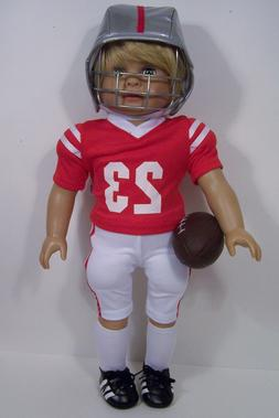 "RED Complete Football Uniform Doll Clothes For 18"" American"