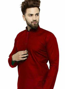 Red Cotton Kurta Pajama For Men Yoga Indian Clothing