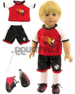 red flame soccer uniform with shoes