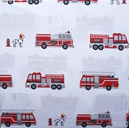 Boy Zone 4 Piece Full Sheet Set Red Fire Trucks Black White