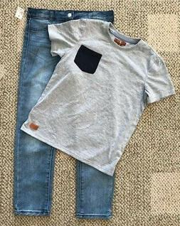 Size 6 Boys 7 For All Mankind 2 Piece Set Blue Jeans Gray Sh